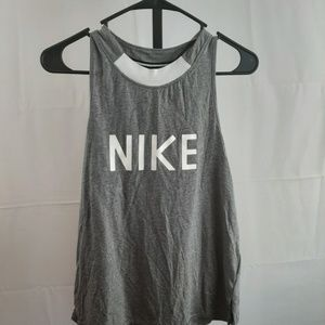 Nike logo  gray and white muscle tank top S